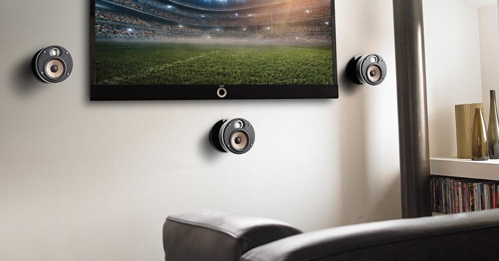 Focal Dôme Flax Pack 5.1 mounted with a TV