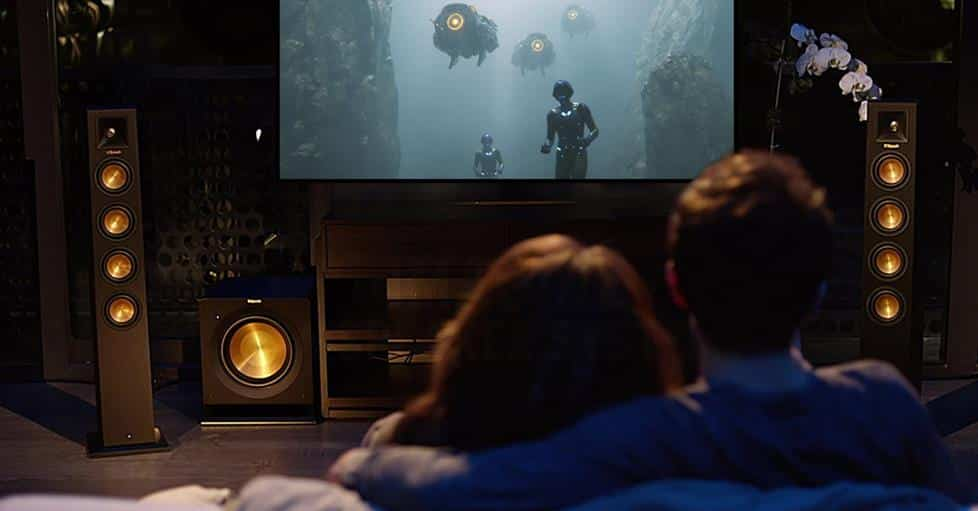 Home theater with tower speakers